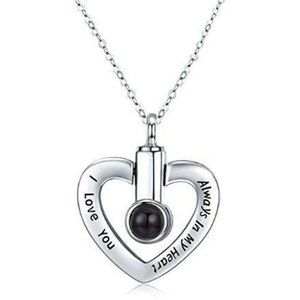 Steel Cremation Urn necklace, memorial, small